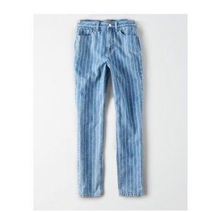 NWT Retro Indigo stripe Mom Jeans